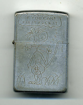 "Zippo Lighter 1968-69 Vietnam ""SKI"" Adult Theme On Front Profanity  Military"