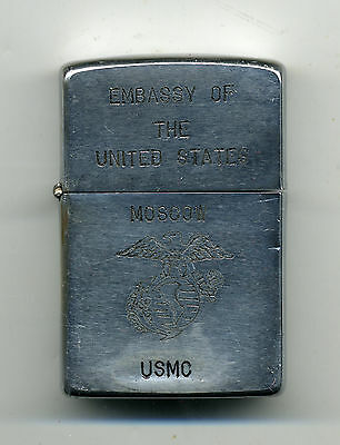 Zippo Lighter 1982 USMC Marines US Embassy MOSCOW CPL Davis Newark NJ Vodka Snow