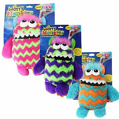 Children's Kids Worry Monster Soft Plush Toy With Zip Up Mouth Eats Worry Notes