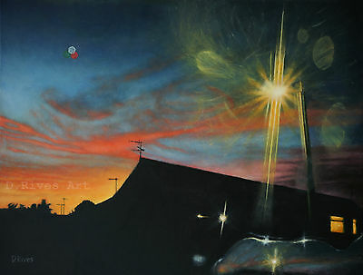 "Signed A3 art print ""Suburban Sunset"" oil on canvas painting"