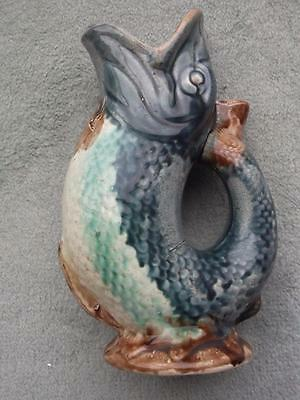 19th Century Majolica Fish Gurgle Jug English c1880 GREAT CONDITION