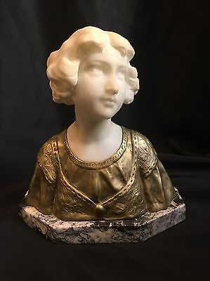 Alabaster and Bronze Bust Of Woman on Marble Base SIGNED