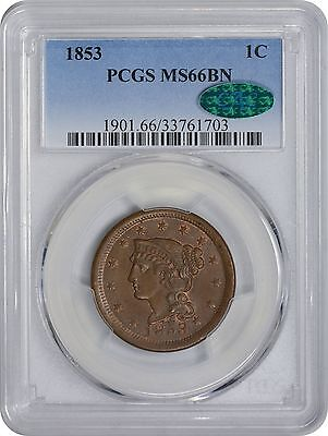 1853 Large Cent MS66 BN PCGS/CAC Mint State 66 Brown