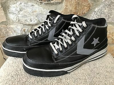Converse BLACK Leather Steel Toe Work Safety Slip Resist Hi Tops Shoes 11 W RARE