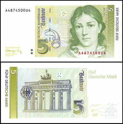 Germany 5 Deutsche Mark, 1991, P-37, UNC