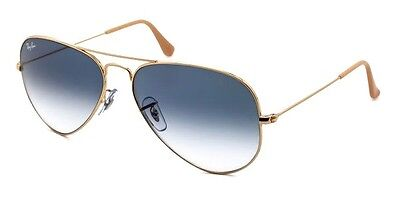 Ray-Ban Aviator Sunglasses Light Blue Gradient Lens Gold Frame Rb3025 001/3F