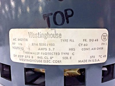 Westinghouse 1/6HP 1PH 115V 1050/950RPM Electric Motor