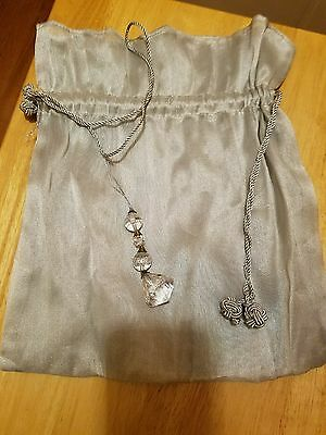 Bridal money bag, heirloom design, light blue gray, with rope tie and charm.