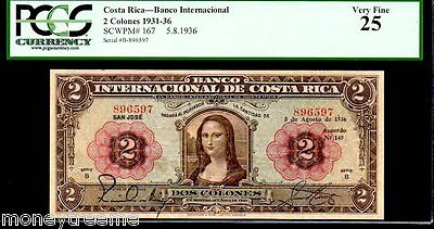 "COSTA RICA P167 FAMED ""MONA LISA"" 1936 2 COLONES GRADED PCGS 25! Da Vinci"