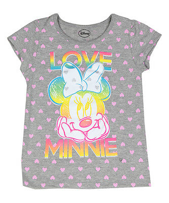 Disney Girls Tee Shirt Minnie Mouse Toddler Top Grey Polka Hearts 2t 3t 4t New
