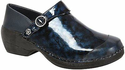 4EurSole by Rocky INSPIRE ME Womens Blue Marble Patent Work Clogs Shoes