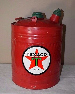Vintage Red Galvanized Gas Can with Handle/Spout and Texaco Sticker