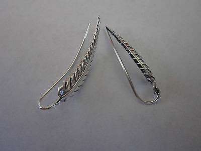 Vintage Style Sterling Silver Ear cuff Eagle feather pair 925 solid silver