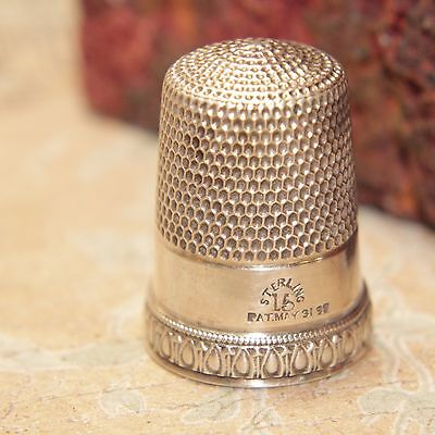 Vintage Simons Brothers Size 15 Priscilla Sterling Silver 1898 Thimble - 5.9g