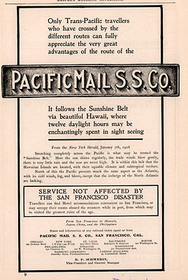 1906 A Ad  Pacific Mail Steam Ship Co Hawaii San Francisco Disaster