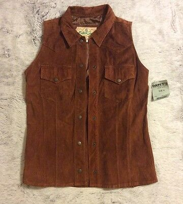 Vintage Made In Jeans Suede Vest Shirt Western Cowgirl Sz: Medium Tan Leather