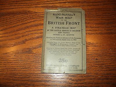 Antique 1917 Rand McNally War Map Of The British Front