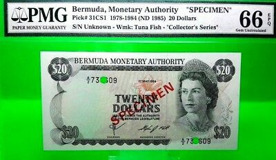 Money Bermuda $20 Dollars 1978 Specimen Unc Pick # 31Cs1
