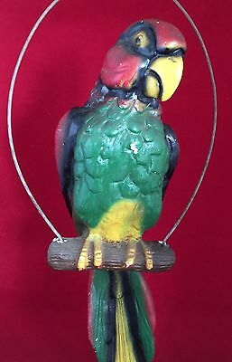 Large Vintage Plaster Chalkware Parrot On Hanger Original Paint