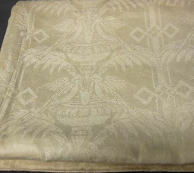 Antique Linen Damask Figural Birds Hemstitch Deco Tablecloth 65x87 w/12 Napkins