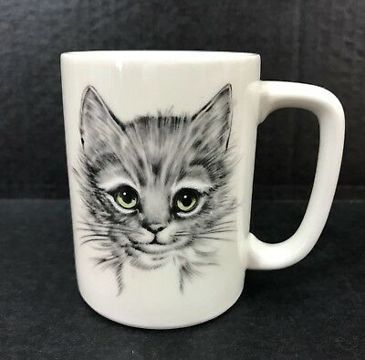 Gray Cat with Green Eyes Coffee Mug Otagiri Japan