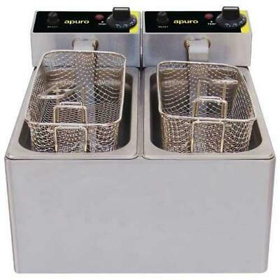 Apuro Benchtop Electric Deep Fryer, Double 2x 3L, Commercial Kitchen Equipment