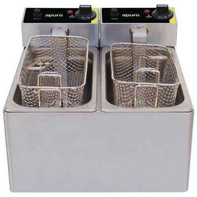 Apuro Benchtop Electric Fryer, Double 2x 3L, Commercial Kitchen Equipment
