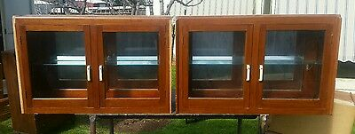 1930s Blackwood Elevated Display Cupboards Deco Handles Mirror Backed