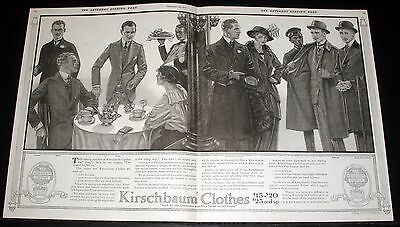 1914 Old Magazine Print Ad, Kirschbaum Clothes, Pure Woolens Are Hand Tailored!