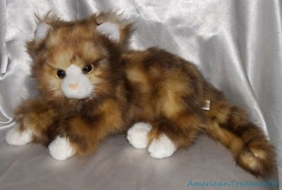 """2015 Ty Classic Plush 12"""" Fluffy Jumbles Tortie Marbled Kitty Cat w/Golden Eyes"""