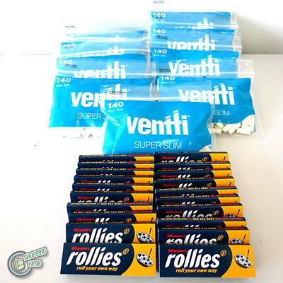 1260 Ultra Slim Blue VENTTI Filter Tips + 1200 ROLLIES Cigarette Rolling paper