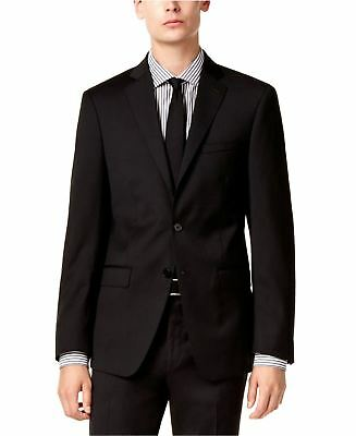 Calvin Klein X Slim Fit Wool Black 2 Button Jacket Flat Front Pants Men's Suit