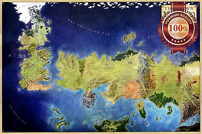 New The Known World Game Of Thrones Got Map Art Colour Art Print Premium Poster
