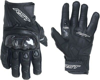 RST Stunt III 3 CE Mid Length Leather Motorcycle Gloves - Black