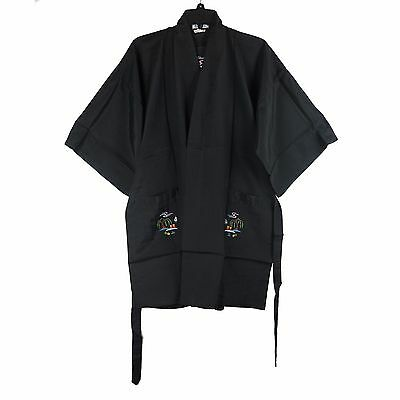 Traditional Chinese Floral Embroidered Floral Garden Jacket Robe Top Black M New