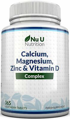 Calcium Magnesium Zinc and Vitamin D Supplement 365 Vegetarian Tablets