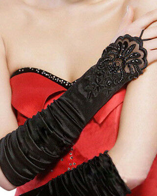 Black Long Satin Fingerless Gloves With Lace One Size