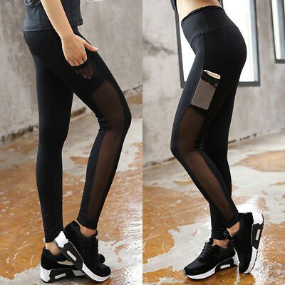 Lady Yoga Gym Sports Workout Leggings Running Fitness Stretch Pants With Pocket