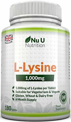 L-Lysine 1000mg 180 Tablets  Cold Sores Amino Acid Supplement 100% Guarantee