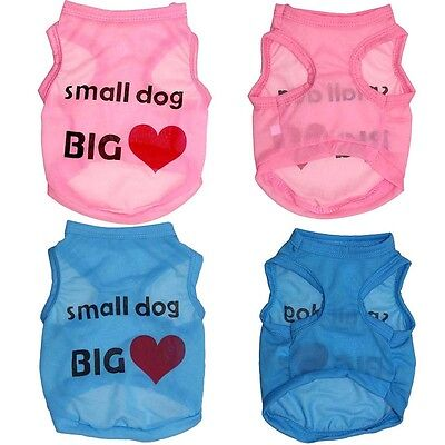 Cute Small Dog Big Heart Pet Dog Clothes Vest T-shirt Coat Apparel Costumes New