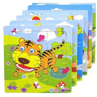 Chic Wooden Animal Puzzle Jigsaw Toddler Kids Early Learning Toy Educational !