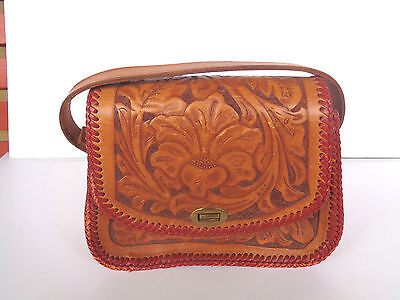 Vintage Brown Tooled Leather Hand Bag Purse Floral Personalized Ramona Western