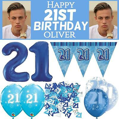 Blue Age 21 Male Happy 21st Birthday Banner Confetti Balloons Decorations