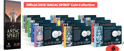 2018 ANZAC SPIRIT COIN Collection Set 15 Coins + FOLDER Herald Sun Advertiser