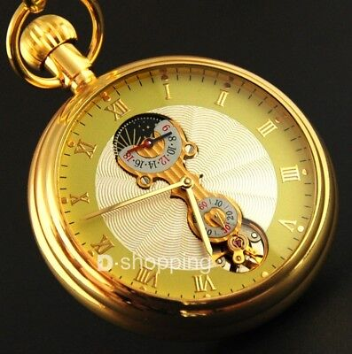 Gold Stainless Steel Tourbillon Moon Phase Mechanical Pocket Watch Classic Mens