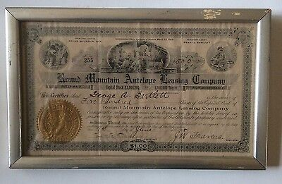 Stock Certificate Round Mountain Antelope Leasing Co. Gold Mining Goldfield NV