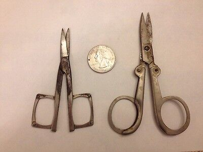 Two Pair Rare Vintage Folding Scissors! Very Rare! West Germany & England! Look!