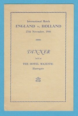 England V Holland 27Th November 1946 Extremely Rare Original Menu Excellent Con