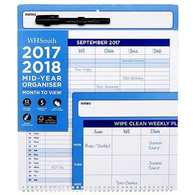 WHSmith 2017-18 Large Mid Year Calendar Wall Planner Wiro Bound Month To View