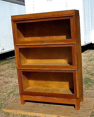 Antq Oak Mission-Arts Crafts BARRISTER BOOKCASE 3 stack FREE SHIP globe wernicke